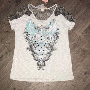 Mint Green, Angels & Diamonds Tee, lace shoulders